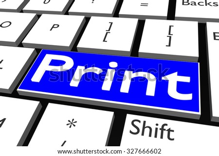 Computer keyboard with font Print - stock photo