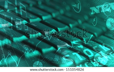 Computer keyboard with glowing business management icons and diagram - stock photo