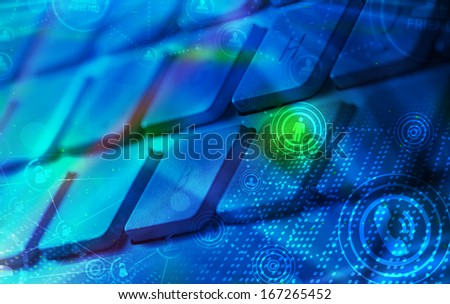 Computer keyboard with glowing icons, social networking concept - stock photo