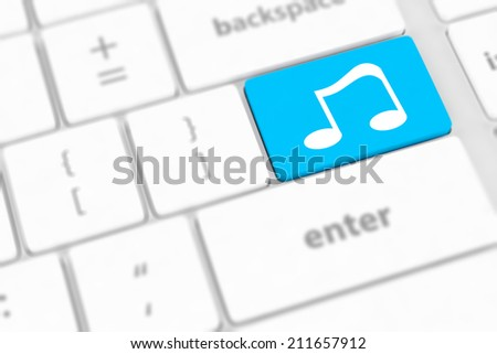 computer keyboard with icon music