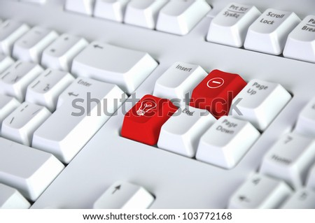 Computer keyboard with idea symbol on it