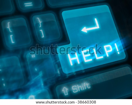 Computer keyboard with key HELP - stock photo