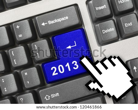 Computer keyboard with 2012 key - holiday concept - stock photo
