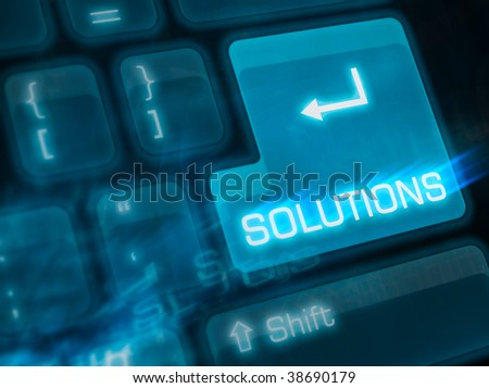 Computer keyboard with key solutions - stock photo