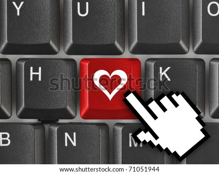 Computer keyboard with love key - internet concept - stock photo