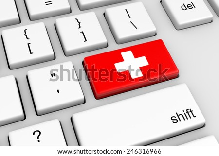 Computer Keyboard with medical Button Illustration - stock photo