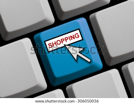 Computer Keyboard with mouse arrow showing shopping online - stock photo