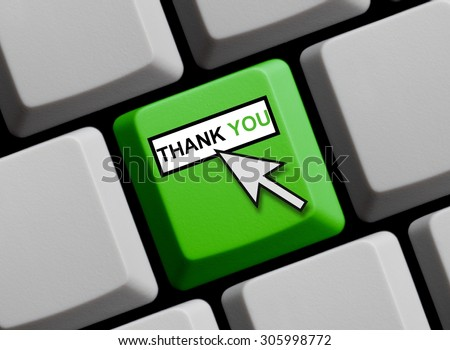 Computer Keyboard with mouse arrow showing Thank you online - stock photo