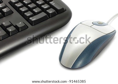 Computer keyboard with mouse on a white background