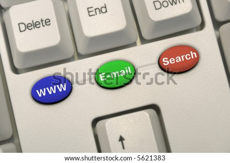 Computer keyboard with multicolored internet keys - stock photo