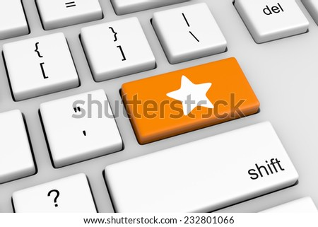 Computer Keyboard with Orange Star Rating Button Illustration - stock photo