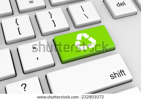 Computer Keyboard with Recycle Sign Green Button Illustration - stock photo