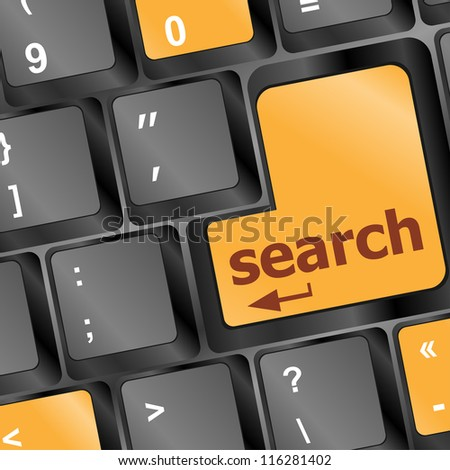 Computer keyboard with search button. raster - stock photo