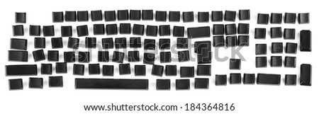 Computer keyboard with the key letters erased so you can write in your own lettering for a title or sign - stock photo