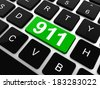 Computer keyboard with the 911 sign,  - stock photo