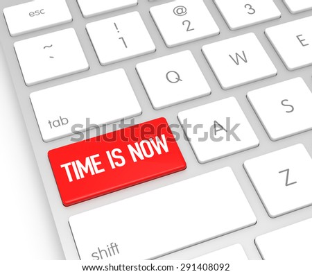 Computer Keyboard with TIME IS NOW Button. 3D Rendering - stock photo