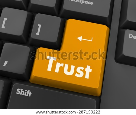 Computer keyboard with trust button, business concept, raster