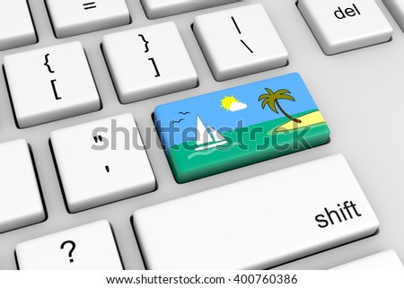 Computer Keyboard with Vacation Reservation Button 3D Illustration - stock photo