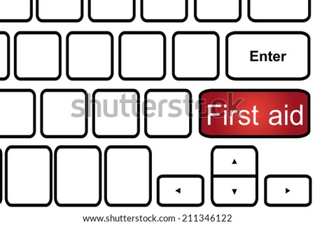 Computer keyboard with word first aid.  - stock photo