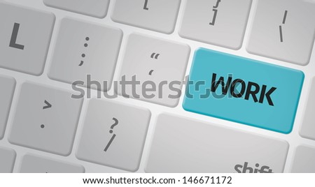 Computer keyboard with word Work - stock photo