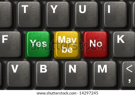 Computer keyboard with Yes, No and Maybe keys - business concept - stock photo