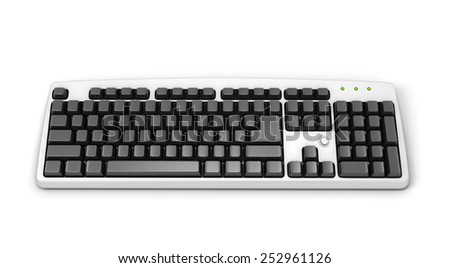 Computer keyboard without letters isolated on white background. 3d illustration.