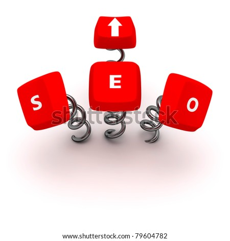 "Computer keys ""Search Engine Optimization"" on springs - stock photo"
