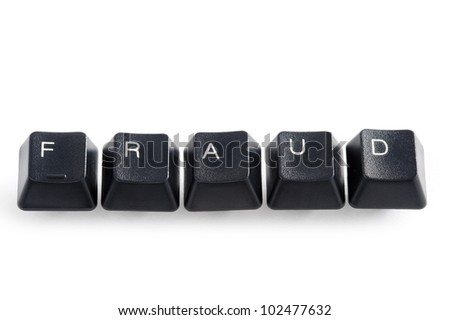 computer keys spelling the word fraud on white - stock photo