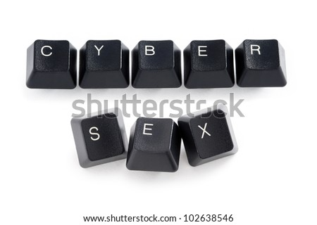 computer keys spelling the words cyber sex