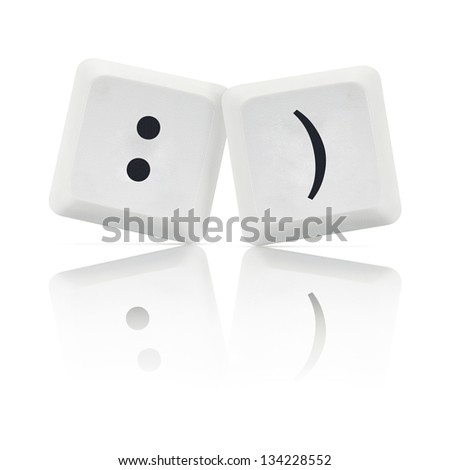 Computer Keys with social media smile symbol - stock photo
