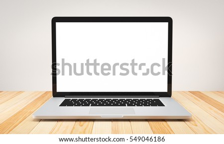 Computer laptop blank screen on wood table and cement background workspace mock up design illustration 3D rendering