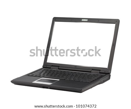 computer laptop isolated on white - stock photo