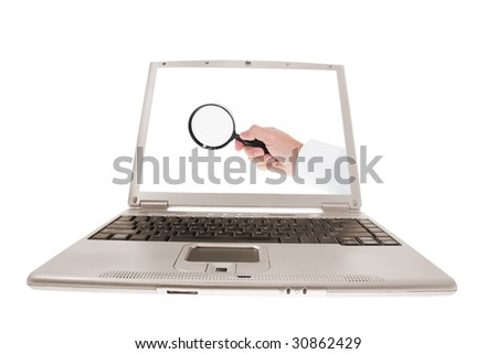 Computer Laptop with Hand on Isolated White Background