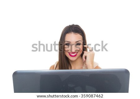 Computer. Laptop.Woman.Girl. Businesswoman.Girl working at the laptop.