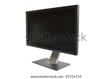 Computer LCD monitor isolated on white background - stock photo