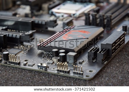 computer main board. Electronic printed circuit board - stock photo