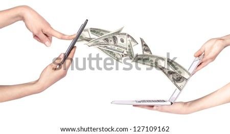 computer making money concept isolated on a white background - stock photo