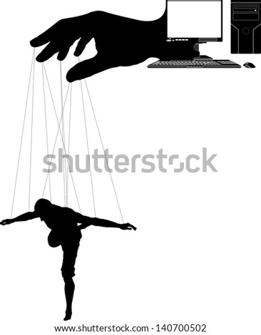 computer marionette. first variant. raster variant - stock photo