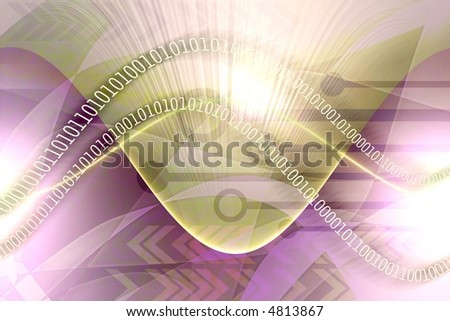 Computer media elements in abstract background with binary data leaks flowing - stock photo