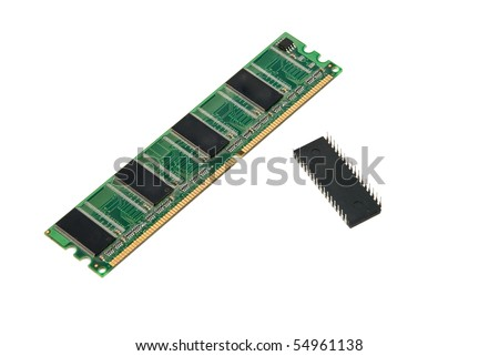 Computer memory card and circuit isolated on white background