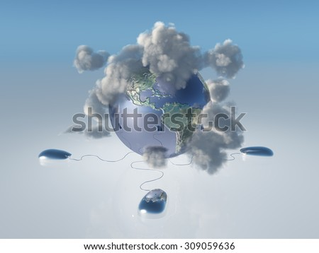 Computer Mice, earth and cloud Americas - stock photo