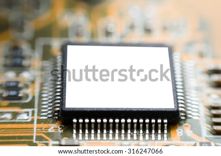 Computer Micro Chipset Circuit Board - stock photo