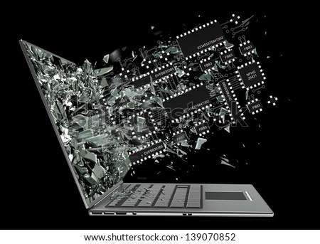 Computer microchip CPU exit by a monitor of laptop screen isolated on black background High resolution 3d - stock photo
