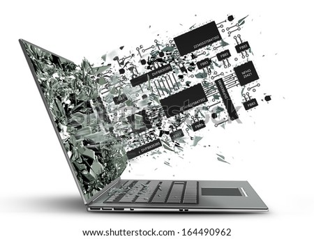 Computer microchip CPU exit by a monitor of laptop screen isolated on white background High resolution 3d  - stock photo