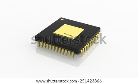 Computer microchip CPU isolated on white background - stock photo