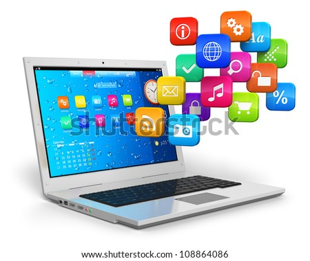 Computer mobility, internet communication and cloud computing concept: white laptop with cloud of color application icons isolated on white background - stock photo