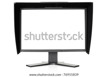 Computer monitor for color correction isolated on white, outline and blank screen clipping path included