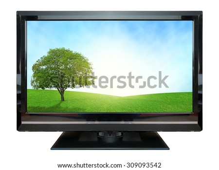 Computer Monitor grassland screen. Isolated on white background. - stock photo