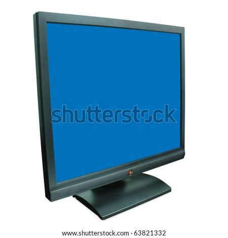 Computer monitor in black over a blue background - stock photo