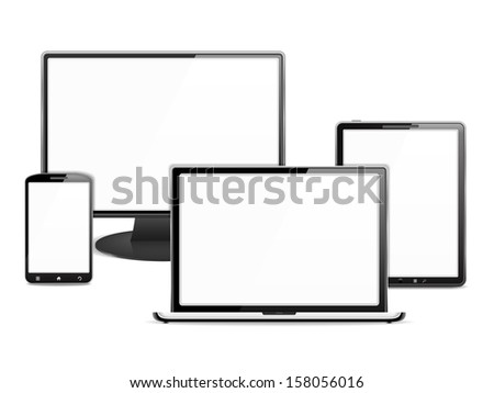 Computer monitor, laptop, tablet pc and smart phone, each device has a white blank screen - stock photo